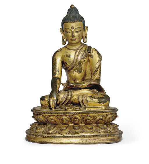 A gilt bronze figure of Akshob
