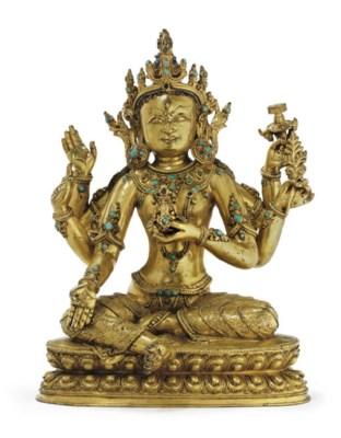 A gilt bronze figure of Vasudh