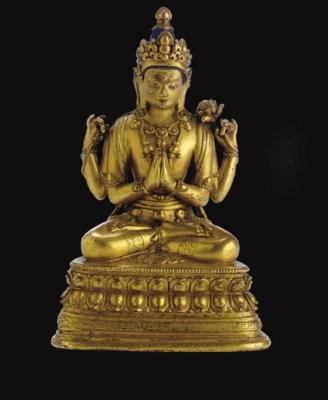 A gilt bronze figure of Shadak