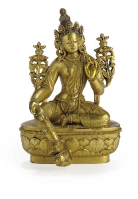 A gilt bronze figure of Tara
