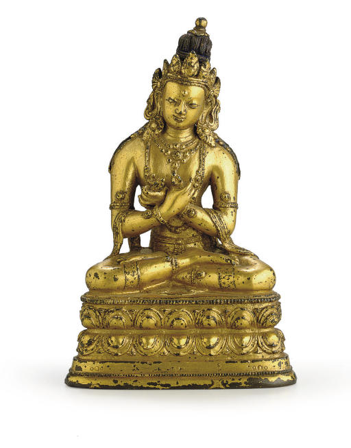 A gilt bronze figure of Vajrad