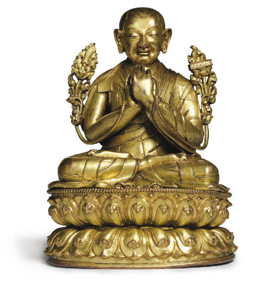 A gilt bronze figure of Tsongk