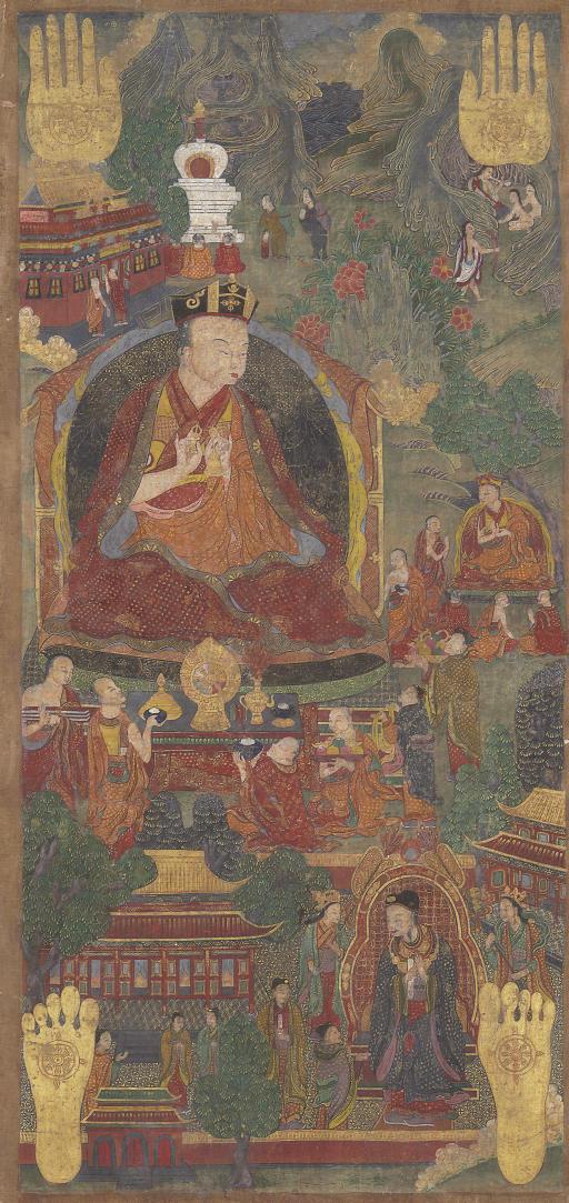 An Rare Thangka of the Fifth Karmapa, Deshin Shegpa, meeting Emperor Yongle
