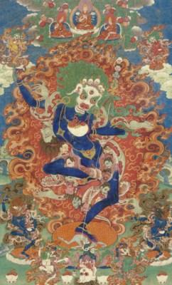 A Thangka of Simhamukhta