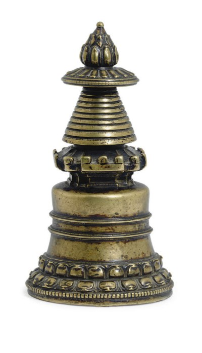 A Gilt Kadampa Bronze Stupa