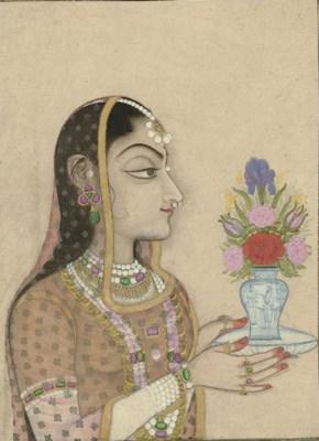 A Woman Holding a European Vas