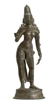 A large bronze figure of Parva