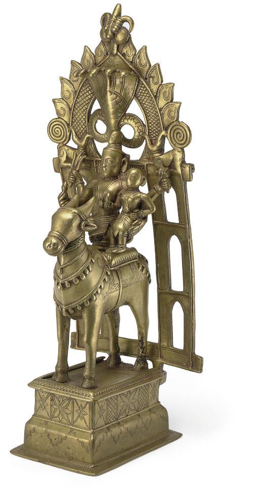 A bronze figure of Shiva and Parvati with Nandi