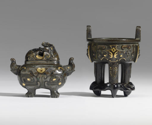 TWO MINIATURE INLAID BRONZE ARCHAISTIC CENSERS