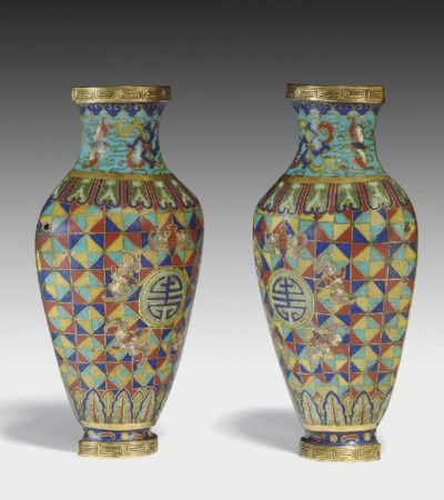 A PAIR OF UNUSUAL CLOISONNE EN