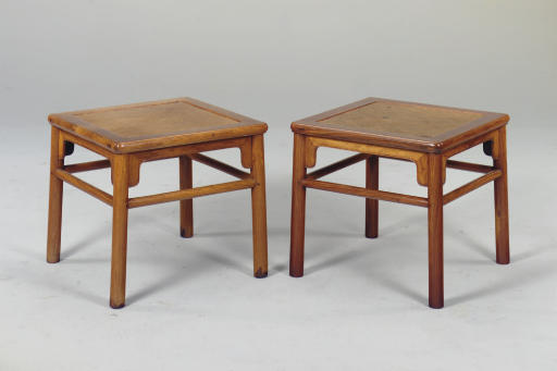 A PAIR OF SQUARE HUANGHUALI STOOLS, FANGDENG
