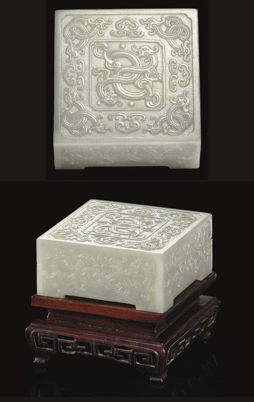 A PALE GREENISH-WHITE JADE SQUARE BOX AND COVER