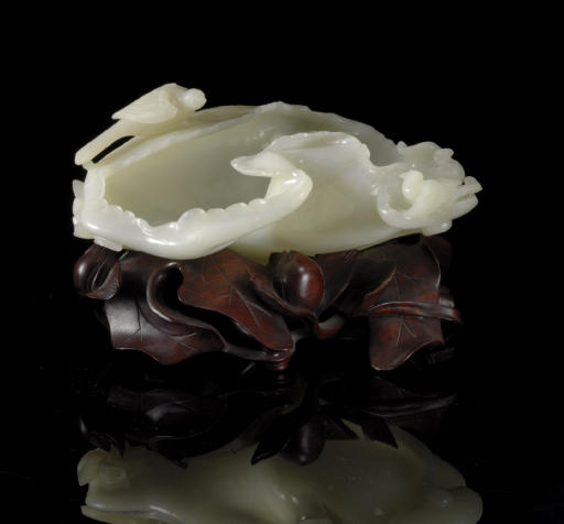 A WHITE JADE LOTUS LEAF-FORM B