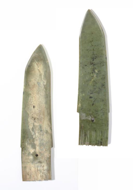 A LARGE GREYISH-GREEN JADE BLA