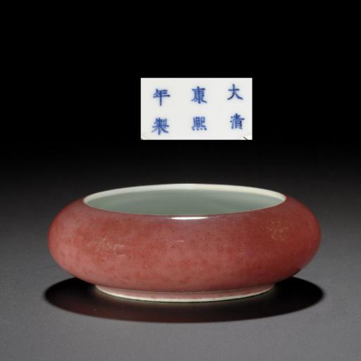 A FINE PEACHBLOOM-GLAZED BRUSH WASHER, TANGLUO XI