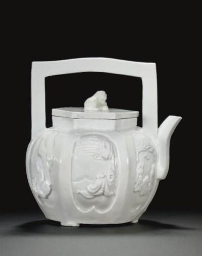 A BLANC-DE-CHINE HEXAGONAL TEA
