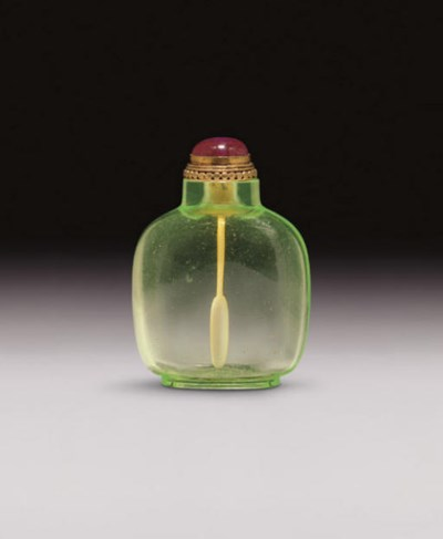 **A LIME-GREEN GLASS SNUFF BOT