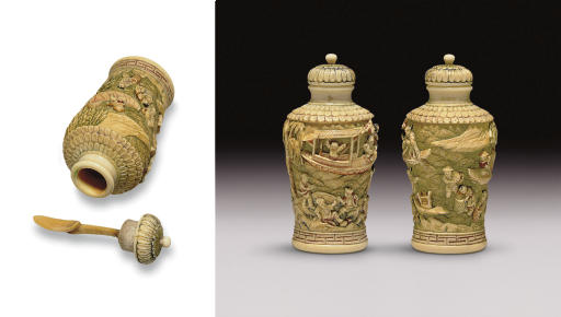 **A RARE AND UNUSUAL CARVED IVORY SNUFF BOTTLE