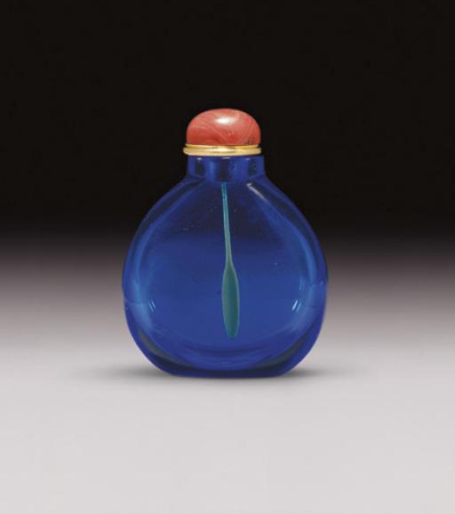 **A SAPPHIRE-BLUE GLASS SNUFF