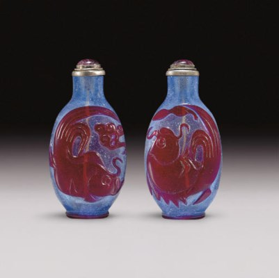 A RED OVERLAY BLUE GLASS SNUFF