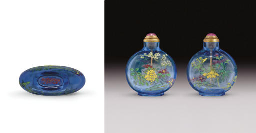 **A RARE AND UNUSUAL ENAMELED BLUE GLASS SNUFF BOTTLE