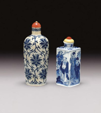**TWO BLUE AND WHITE SNUFF BOT