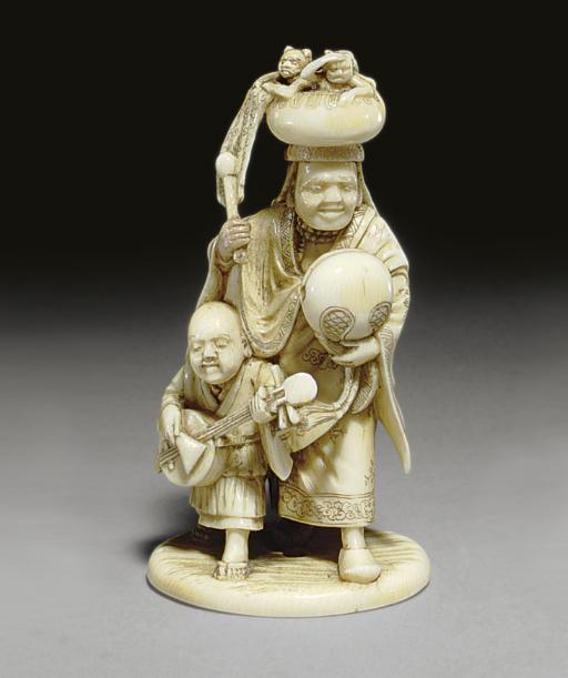 A Figural Ivory Netsuke and a Ryusa Style Ivory Netsuke