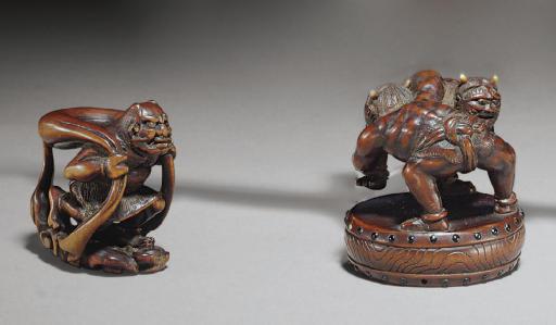 A Wood and Ivory Netsuke and T