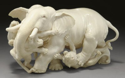 A Ivory Model of an Elephant a