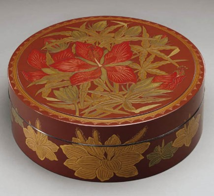 A Round Lacquer Box with Flowe