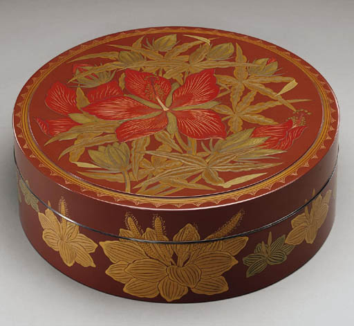 A Round Lacquer Box with Flowers