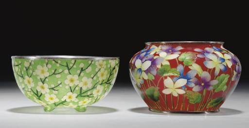 Two Plique-a-jour Enamel Bowls