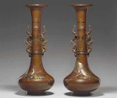 A Pair of Bronze Trumpet Vases