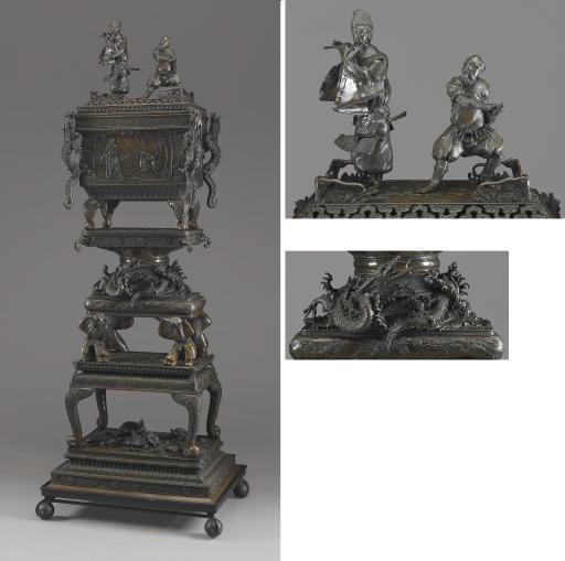 A Monumental Bronze Incense Bu