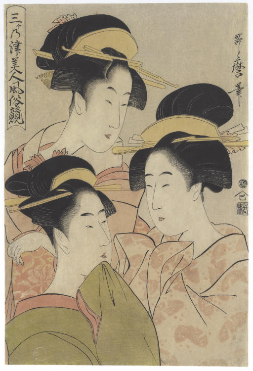 Three beauties, from the series Sanganotsu bijin fuzoku kurabe (Comparison of customs and manners among three beauties of the three cities, Edo, Kyoto and Osaka)