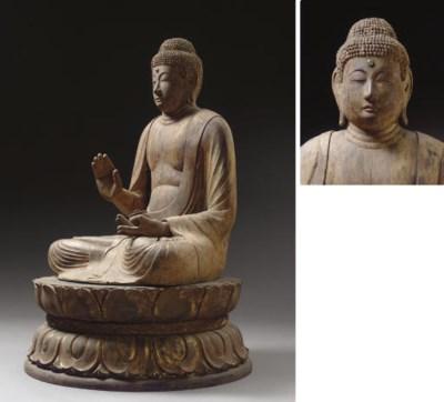 A Wood Seated Figure of Yakush