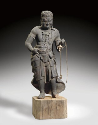 A Wood Figure of Fudo Myo-o (A