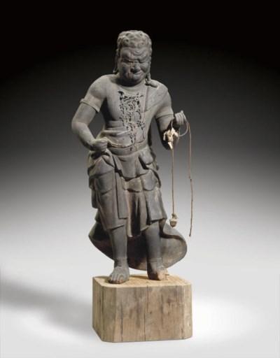 A Wood Figure of Fudo Myo-o (A