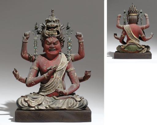 A Wood Figure Of Aizen Myo-o (