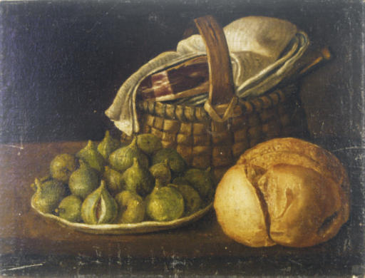 Still life with plate of figs, bread and basket with ham