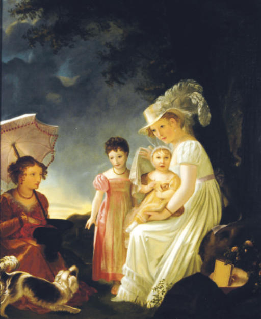 Ladies with children and dog resting under a tree