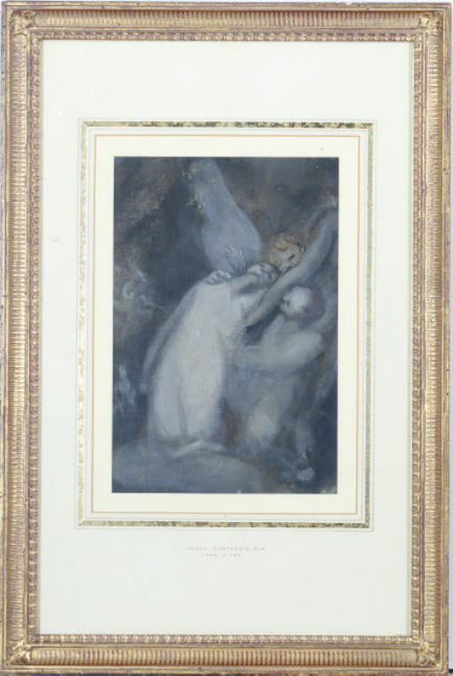 A dying woman being received by angels