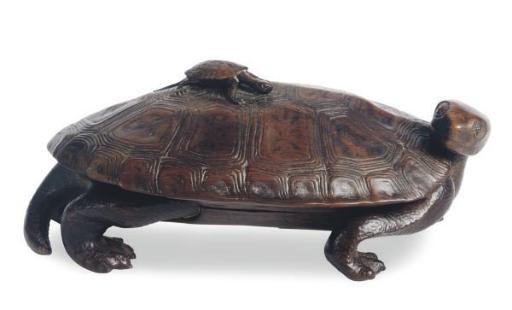 A JAPANESE WOOD TURTLE-SHAPED