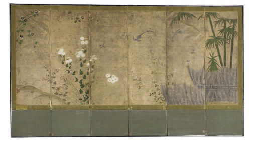 A JAPANESE SIX-PANEL PAINTED F