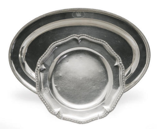 A GEORGE III SILVER PLATE AND