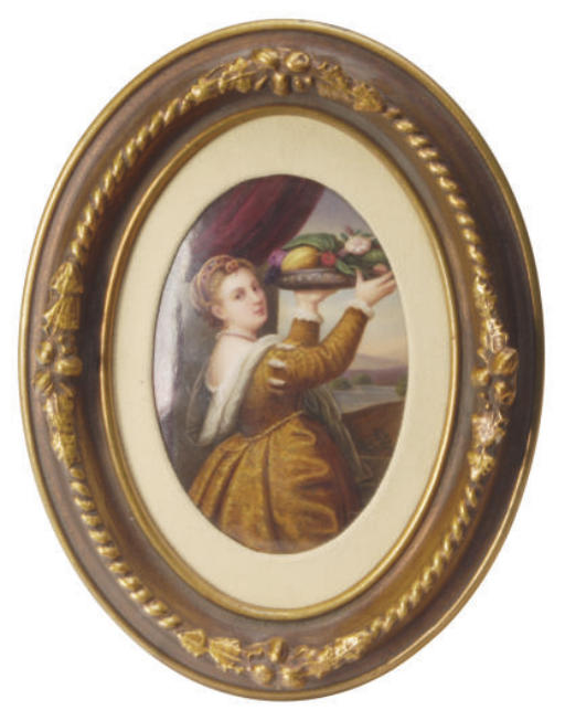 A GERMAN PORCELAIN OVAL PLAQUE