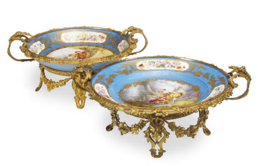 TWO GILT METAL MOUNTED SÈVRES-