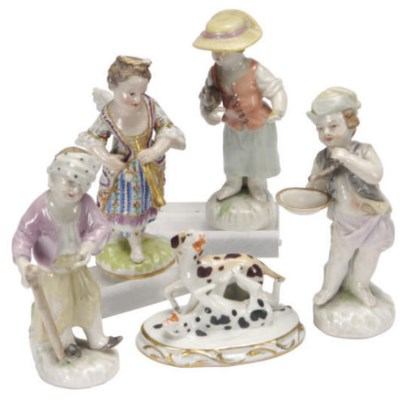FOUR GERMAN SMALL FIGURES OF C
