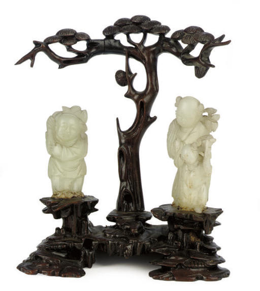 A CHINESE WHITE JADE AND WOOD