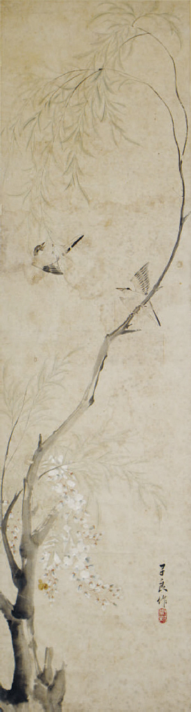 A CHINESE PAINTING OF BIRDS ON